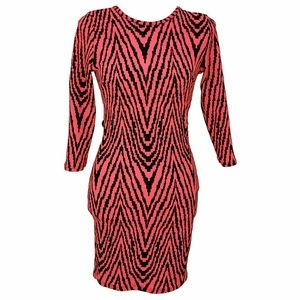 Vintage Hot Pink Zebra Handmade 80s Club Dress